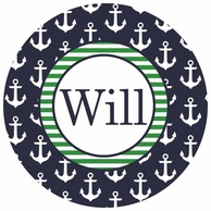 Anchors Navy Personalized Kids Plate