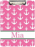Anchors Pink Personalized Clipboard