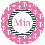Anchors Pink Personalized Kids Plate