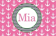 Anchors Pink Personalized Placemat