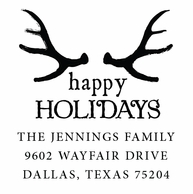 Antlers Happy Holidays Personalized Stamper