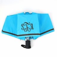 Aqua Blue Monogrammed Umbrella