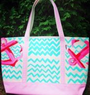 Aqua Chevron Anchors Hand Painted Francesca Joy Large Tote