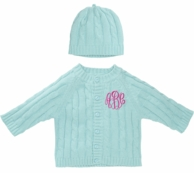 Aqua Monogrammed Cable Knit Baby Sweater and Hat Set