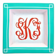 Aqua Monogrammed Small Square Blair Jewelry Tray