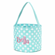 Aqua Polkadot Personalized Easter Bucket