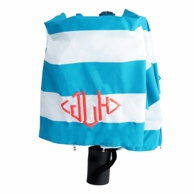 Aqua Stripes Monogrammed Umbrella