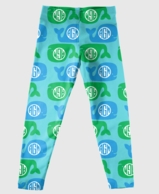 Aqua Whales Monogrammed Girls Leggings