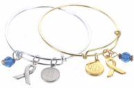 April Autism Awareness Monogrammed Silver Or Gold Bangle Bracelet - CHARITY