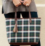 Avery Plaid Monogrammed Tote