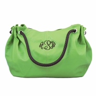 Avocado Green Monogrammed Vegan Leather Hobo Bag