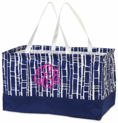 Bamboo Navy Monogrammed Haul It All Utility Tote