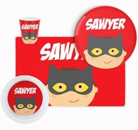 Bat Hero Personalized Kids Tableware Set