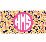 Beach Floral Monogrammed Car Tag License Plate
