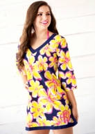 Beach Floral Monogrammed Tunic Beach Cover Up