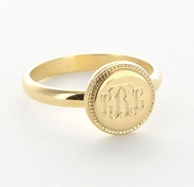 Beaded Edge Gold Monogram Ring
