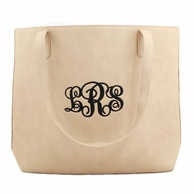 Beige Luxe Monogrammed Large Tote