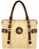Beige Monogrammed Elizabeth Vegan Leather Handbag