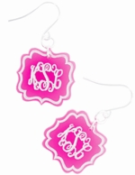 Birdie Arabesque Acrylic Monogram Earrings