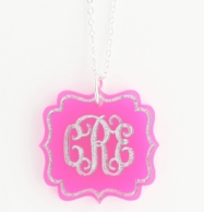 Birdie Flourish Acrylic Monogram Necklace