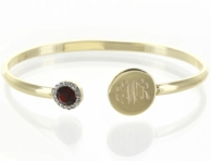 Birthstone Monogrammed Goldtone Bangle Bracelet - JULY (Ruby)