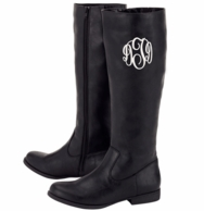 Black Brooklyn Tall Monogrammed Boots