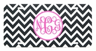 Black Chevron Monogrammed Car Tag