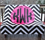 Black Chevron Monogrammed Fleece Throw Blanket