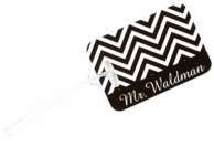 Black Chevron Mr Luggage Tag