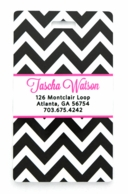 black Chevron Pink Personalized Luggage Tags - SET OF 2
