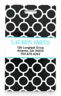 Black Circles Aqua Personalized Luggage Tags - SET OF 2