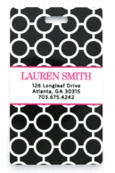 Black Circles Pink Monogrammed Luggage Tags - SET OF 2