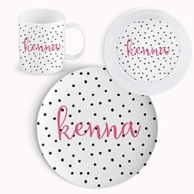 Black Dotty Personalized 3 Piece Dinnerware Set