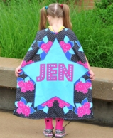 Black Floral Personalized Kids Super Hero Cape