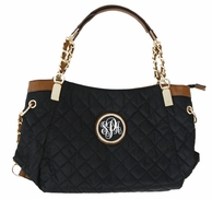 Black Grace Kelly Monogrammed Quilted Handbag