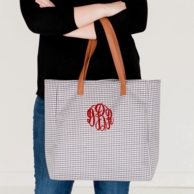 Black Houndstooth Monogrammed Tall Tote