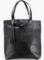 Black Large Embossed Tassel Tote Bag - Gold Foil Embossing