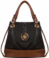 Black Lauren Monogrammed Bucket Bag