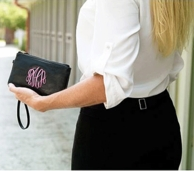 Black Leather Monogrammed Wristlet Clutch