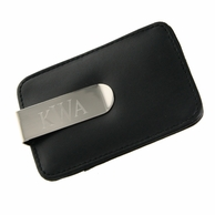 Black Leatherette Monogram Money Clip with Card Holder