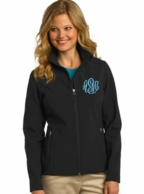 Black Monogrammed Soft Shell Jacket