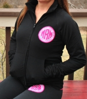 Black Monogrammed Cadet Zip Up Jacket