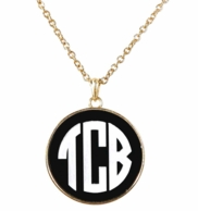 Black Monogrammed Josie Necklace