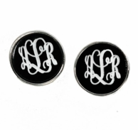 Black Monogrammed Josie Post Earrings