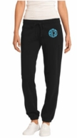 Black Monogrammed Ladies Fleece Sweat Pants