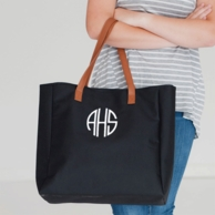 Black Monogrammed Tall Tote