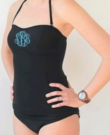 Black Monogrammed TANKINI TOP - SIZE MEDIUM - PREORDER
