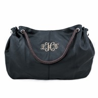 Black Monogrammed Vegan Leather Hobo Bag