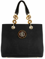 Black Natalie Shopper Monogrammed Handbag