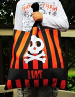 Black & Orange Skull Personalized Halloween Tote